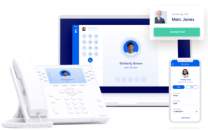 VoIP access with desk phone, computer app, and mobile app